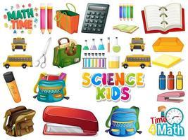 conjunto de objetos escolares vetor
