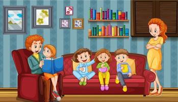 família feliz na sala de estar vetor
