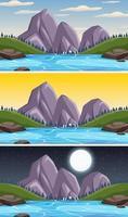cena da paisagem da natureza em diferentes horas do dia vetor