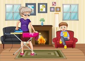 cena com pessoas em família relaxando em casa vetor