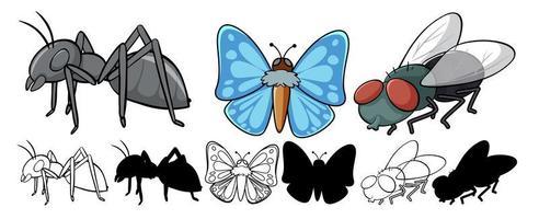 conjunto de desenho de inseto