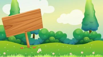 placa de madeira no jardim vetor