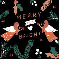 mão desenhada anjos com tipografia alegre e brilhante vetor