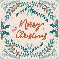 tipografia de feliz natal desenhada à mão e folhagem vetor