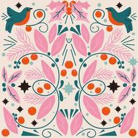 cartão de férias de arte popular rosa com folhagens e pássaros vetor