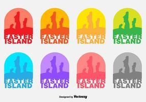 Vector Ilha de Páscoa Moai Estátuas Badges