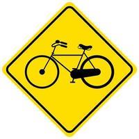 Sinal amarelo de aviso de tráfego de bicicletas em fundo branco vetor