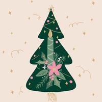 mão desenhada árvore de natal decorativa verde com vela vetor