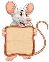 modelo de placa com mouse fofo em fundo branco vetor