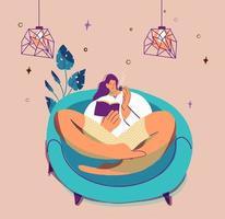 menina autoisolada lendo livro sozinha em casa vetor