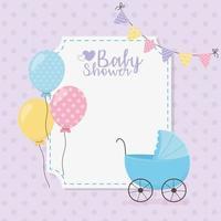 modelo de cartão de chá de bebê fofo vetor