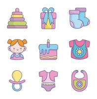 chá de bebê roupas brinquedos acessórios coleção de ícones vetor