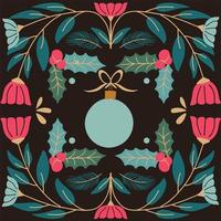 ornamento e folhagem decorativa cartão de natal vetor