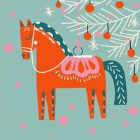 cavalo retrô desenhado à mão enfeite de árvore de natal vetor