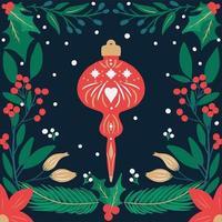 retro mão desenhada enfeites de natal e folhagens vetor