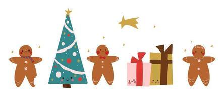 Conjunto de biscoitos de gengibre desenhados à mão, presentes e árvore de natal