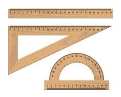 conjunto de instrumentos de régua de madeira vetor