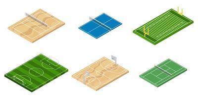 conjunto de campos esportivos isométricos
