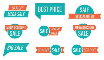 conjunto de etiquetas de venda de oferta especial verde e laranja vetor