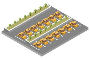 composição isométrica de estacionamento de táxi vetor