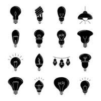 conjunto de ícones de silhueta de lâmpada elétrica