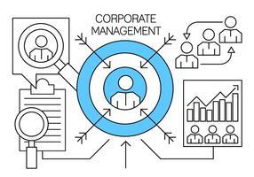 Gestão Corporativa Linear e Elementos de Negócios vetor