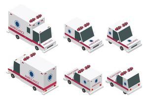 conjunto de ambulância isométrica vetor
