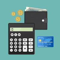 conceito de auditoria com calculadora, carteira e cartão de crédito vetor