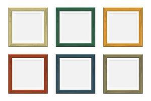 molduras quadradas de madeira de cores diferentes vetor