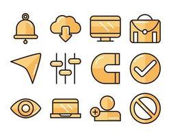 interface, digital e conjunto de ícones de tecnologia da web