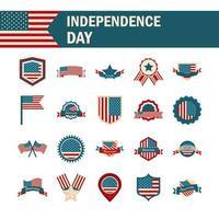 conjunto de ícones de cores do dia da independência dos eua