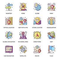 conjunto de ícones planos de navegação