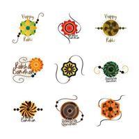 raksha bandhan, conjunto de ícones de pulseira tradicional indiana vetor
