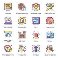 conjunto de ícones lisos do sistema de segurança vetor