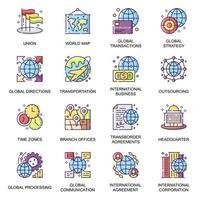 negócios globais, conjunto de ícones planos