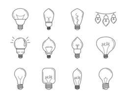 conjunto de ícones de linha de lâmpada elétrica