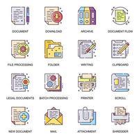 conjunto de ícones planos de documentos de negócios vetor