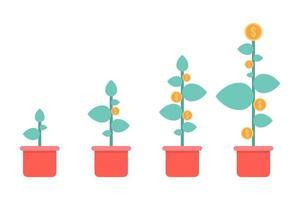 vasos de plantas com moedas de ouro vetor