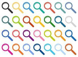conjunto de ícones coloridos de lupa vetor