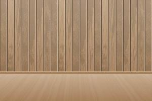 sala de madeira vazia e realista com piso de madeira vetor