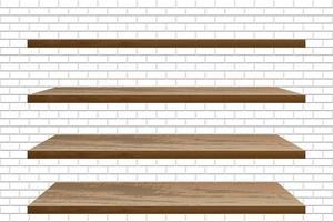 prateleiras de madeira vazias realistas na parede de tijolos brancos