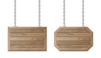 conjunto de tábuas de madeira com corrente vetor