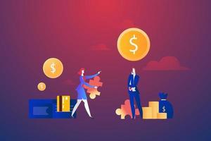 empresários com quebra-cabeça do dólar e dinheiro vetor