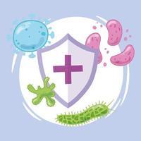 escudo médico com vírus e bactérias vetor