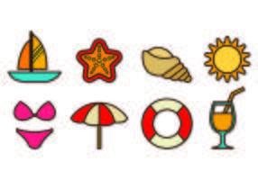 Conjunto de Playa Icons vetor