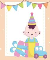 cartão de chá de bebê com um lindo menino e brinquedos