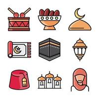 Conjunto de ícones de celebração islâmica eid mubarak vetor