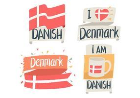 Bandeira dinamarquesa desenhados mão vetor