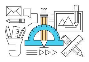 Lineares Ícones do equipamento de desenho