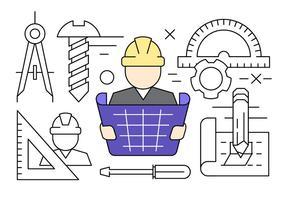 Lineares Construção Engenharia Icons Vector